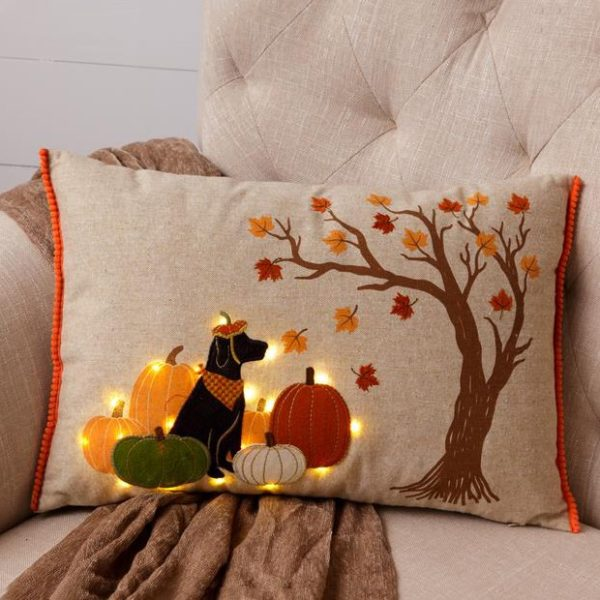 LED Pumpkin Patch Black Lab Accent Pillow