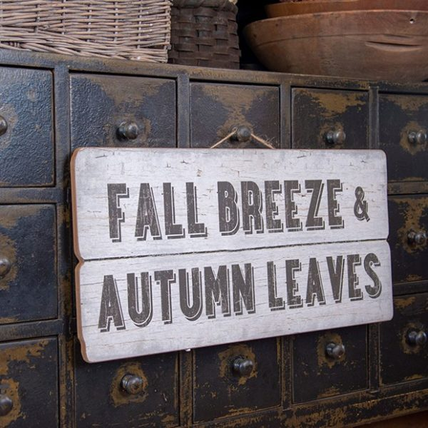 Fall Breeze And Autumn Leaves Sign