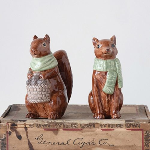 Woodland Animal With Scarf Figurine, Set of 2