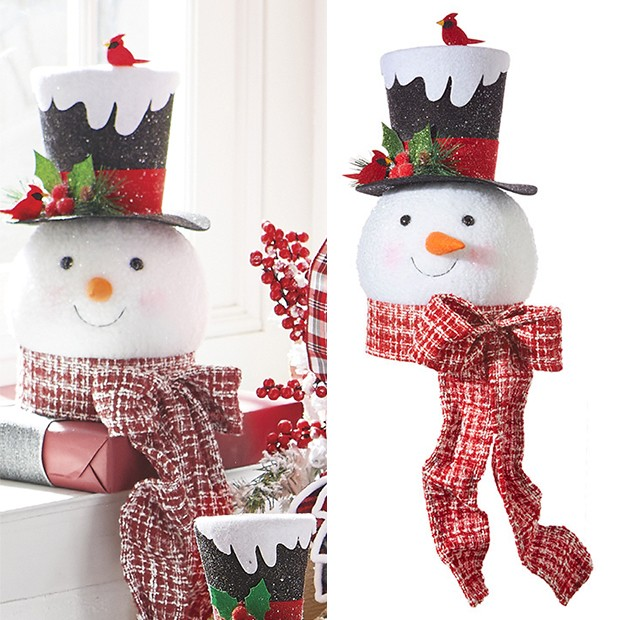 Top Hat Snowman Tree Topper - farmhouse toyland winter wonderland decor