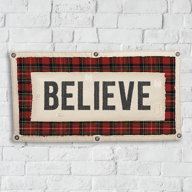 Believe - Plaid Farmhouse Believe Wall Banner Christmas Holidays Sign