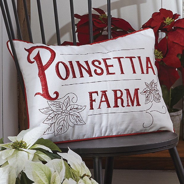 Poinsettia Farm Accent Pillow