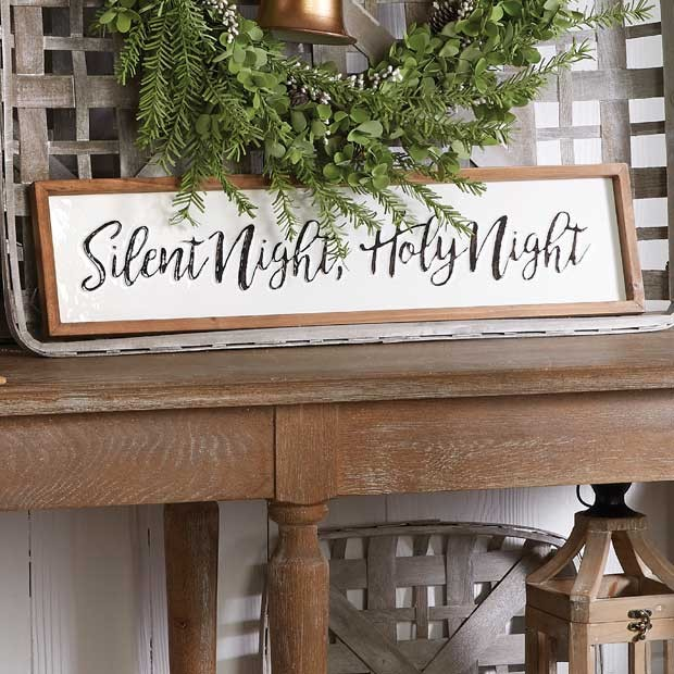 Silent Night Framed Wall Decor Rustic Farmhouse Christmas Wall Sign