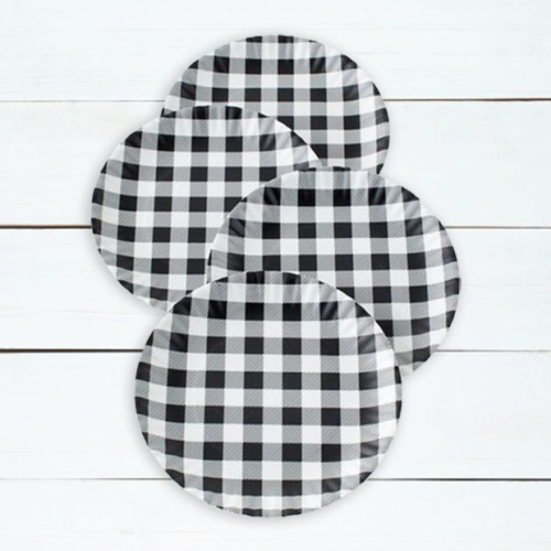 Classic Farmhouse Gingham Plate Set of 4